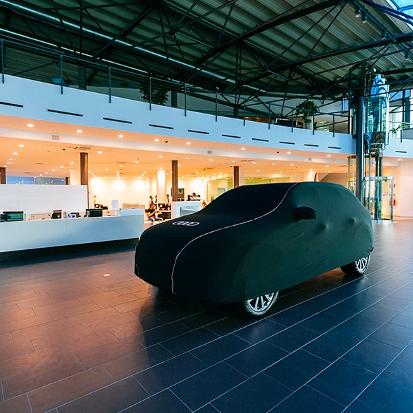 Car dealership set up with Audi cars.